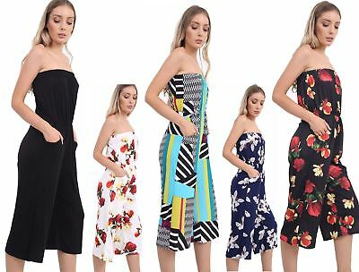 Womens Bardoot Off Shoulder Boobtube Printed Jumpsuit Ladies Strapless Playsuit