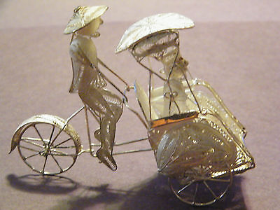 "Sterling Silver Bicycle Rik Shaw ""very Highly Detailed"" & Beautiful Piece Of Art"