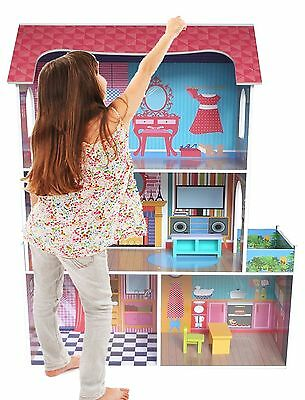 Bebe Style Large Kids Girls Supreme Tall Town Wooden Doll House & Furniture  NEW
