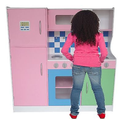 Bebe Style Large Pastel Wooden Kitchen Supreme Boys Girls Chefs Food Role Play