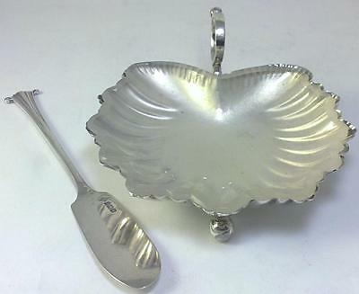 Victorian hallmarked Silver Butter/Preserve Dish & Knife – 1899 by Mappin & Webb