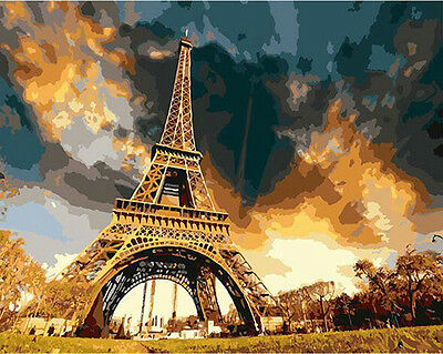 Paint By Number Kit On Canvas Eiffel Tower Paris DIY Painting Wall Decor PZ7076