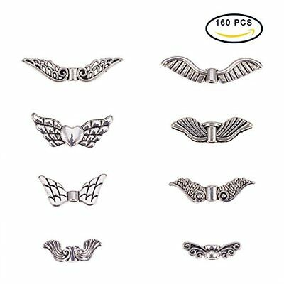 PandaHall Elite Vintage Assorted Tibetan Antique Silver Plated Wing Charm Bea...