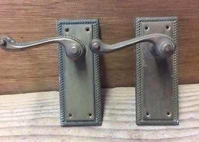 Set of Antique Solid Brass Door Lever Handles Backplates Architectural Salvaged