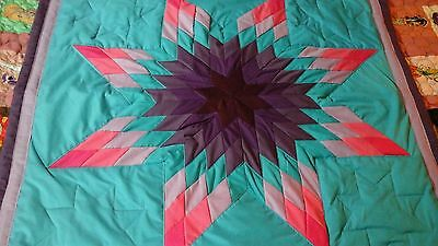 Multicolored  star authentic Sioux native american baby star quilt Turquoise