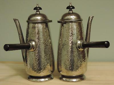 Hammered Pewter Coffee Chocolate Hot Water Pots Marked Tudric 01386 - c.1920's