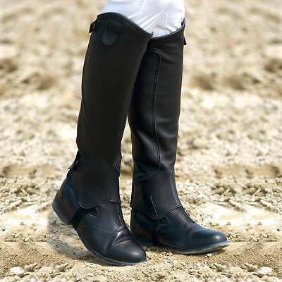 Equi Theme Leather Half Chaps  Black/ Child 6 Years  Small
