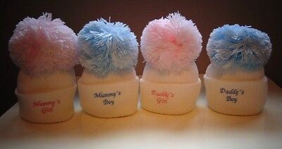 baby embroidered pom pom hat  0-3 months and 3-12 months