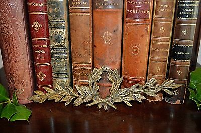 One Antique French Bronze Laurel Wreath Pediment Trim Decorative Mount