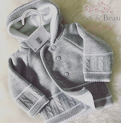 Traditional Spanish Style Baby Boys and Girls Grey Knitted Hooded Jacket