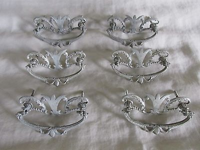 Gorgeous Set of Six Vintage Fancy Art Nouveau-style Cast Metal Drawer Pulls
