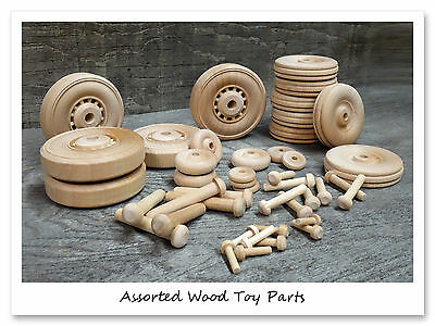 Assorted Wooden Craft Toy Car Truck Wagon Wheels and Axles