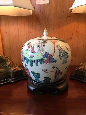 Antique Chinese White Porcelain Hand Painted Round Ginger Jar on Stand Asian