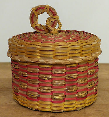 ANTIQUE Ash Sweetgrass PENOBSCOT STAR Native American INDIAN Sewing BASKET