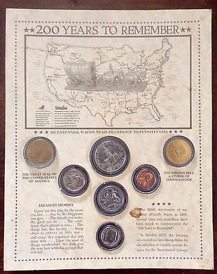 Bicentennial Coin/Medallion Display, 1776-1976, Wagon Train Pilgrimage Map