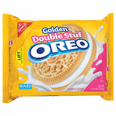 New Nabisco Golden Double Stuf Oreo Sandwich Cookies 15.25 Oz Pack Free Shipping