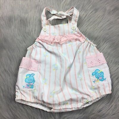 Vintage Baby Girls Pink White Stripe Bunny Lace Romper Sunsuit