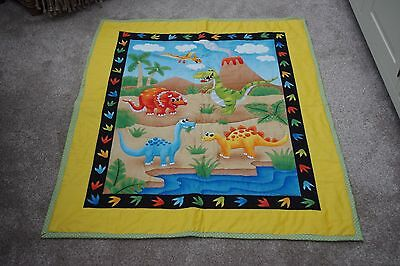 HANDMADE baby/toddler Cot/cot bed quilt Dinosaurs design