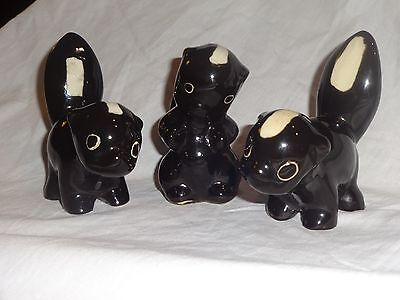3 Vintage Styson China Skunk Figures Stinky Phooey Ceramic Porcelain Sticker