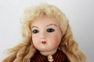 Antique Repro Bru French fashion doll 15 in. kid leather body dressed Feidt wig!