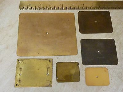 6 Antique- Old Carriage Clock Brass Baseplates