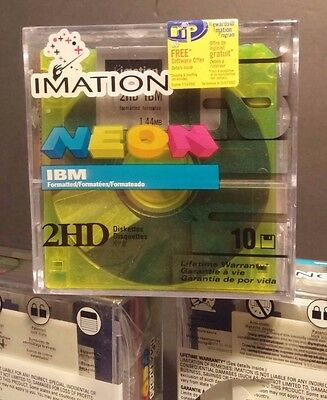 """Floppy Diskettes IBM Formatted Imation Neon 10 Pack 3.5""""1.44 MB 2HD Factory Seal"""