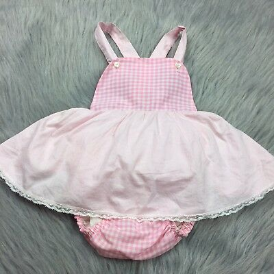 Vintage Baby Girl Pink Gingham Skirted Plastic Lined Sunsuit Romper 1950s Lace
