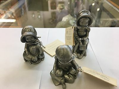 """Vintage Hudson Pewter~Designers' Collection~ """"Holly Hobby""""~ From 1977~ Lot of 3"""