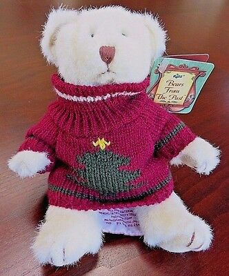 """Russ Berrie 7"""" Bears from the Past Teddy Bear in Christmas Tree Sweater"""