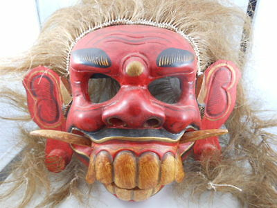 Tribal Wooden Mask With Hair Hand Painted Unknown Origin