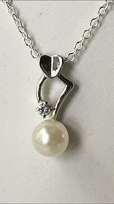 "925 Sterling Silver Freshwater Pearl Mermaid Pendant 18"" Necklace Gift Bag"