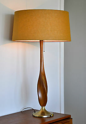 Walnut & Brass Mid Century Eames Danish 'SNONING' Table Lamp with bespoke shade