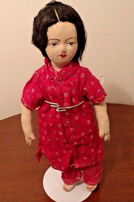 """11"""" ANTIQUE CHINESE CLOTH DOLL w-stand - jl"""