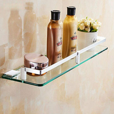Aluminium Bathroom Shower 1 Tier Glass Shelf Caddy Organizer Wall Mount 8839HC
