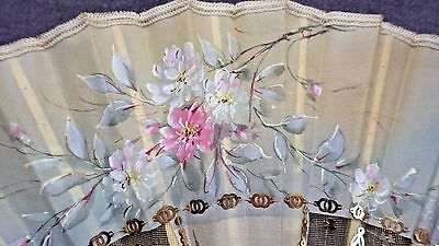 FRENCH 1902 FAN Flowers Painted on Silk, Sequin Embroidery, Carved/Gilded Sticks