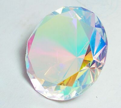 Tripact 80mm Translucent Light Rainbow Round Diamond Glass Paperweight 3.25 I...