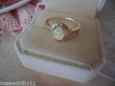 Antique Art Deco Vintage 9ct Gold Opal Ring with Rubies and Diamond 9 ct size 7