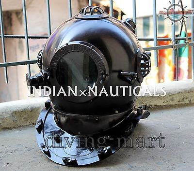 Antique U.s Navy Diving Divers Helmet Solid Steel & Brass Full Size  Dh075847