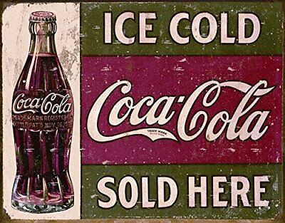 Coca Cola Sign Metal Tin Vintage Soda Advertising Old Square Wall Store Coke New