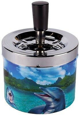 Dolphins Theme Printed Metal Ashtray Spinning Cigarette Push Down Ashes Smoking