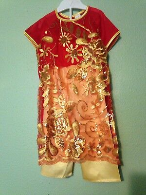 Chinese Asian Traditional Child Girl  Silk Costume Size 2