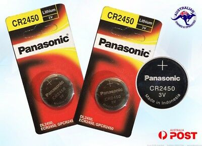 2 x CR2450 DL2450 PANASONIC Lithium Battery coin cell individual pack brand new