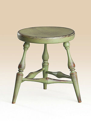 Primitive Country Stool Windsor Style Apple Green American Made Great Size Wood