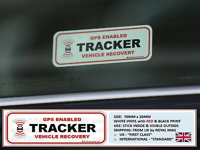 2 x TRACKER FITTED WINDOW STICKERS, DETER CAR THIEF, FORD RS ST, BMW, AUDI, MERC