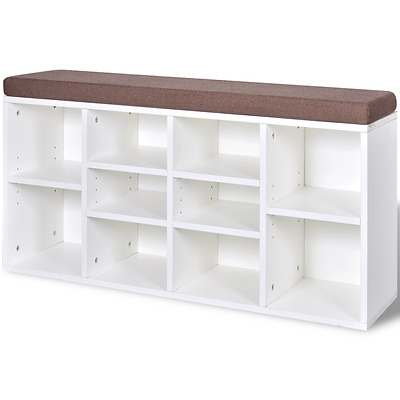 103cm Wooden 10 Compartment Storage Bench Seat Chair Stool Shoe Rack Book Shelf