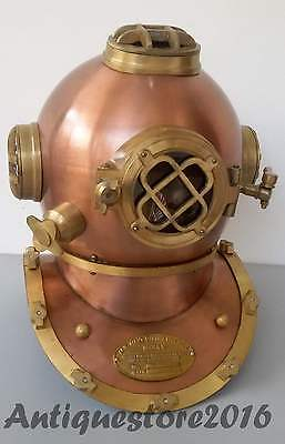 Antique Copper & Brass Finish Solid Steel US Navy Diving Divers Helmet  DH075859