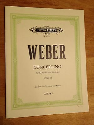 Weber Concertino Op 26, Clarinet And Piano Music, Hardly Used