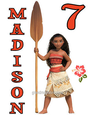 NEW Custom Personalized Moana Maui t shirt Birthday party gift Add Name & Age