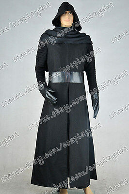 Star Wars The Force Awakens Kylo Ren Cosplay Costume Black Outfit Uniform Party