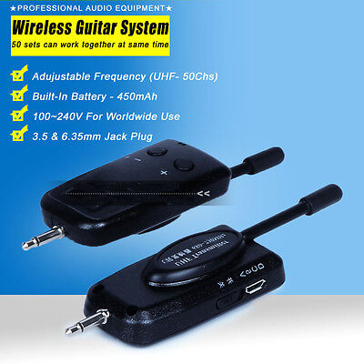 UHF Wireless Audio Digital Transmitter Receiver System for Electric Guitar